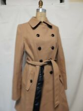 DKNY Dawn Double Breasted Wool Trench Coat  12 Camel  New with Tags