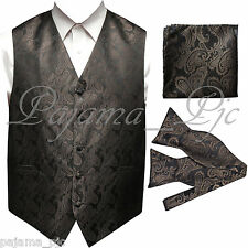 BROWN Paisley Tuxedo Dress Vest Waistcoat & SELF TIE Bowtie And Hanky Set Weddin