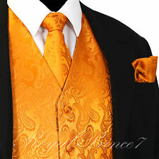 ORANGE Paisley Tuxedo Suit Dress Vest Waistcoat & Neck tie & Hankie Set 20-EE