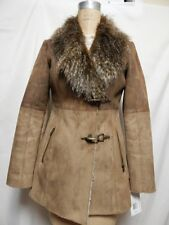 Jessica Simpson Faux Shearling Faux Fur Collar Coat S Honey  NWT