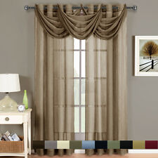 Abri Grommet Crushed Sheer Window Treatments, Panel or Valance, Beautiful Decor