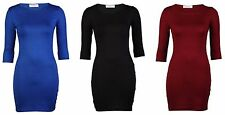 Womens Ladies Plain 3/4 Short Sleeve Stretch Bodycon Summer Mini Dress Top 8-14