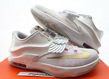 Nike KD 7 Aunt Pearl GS Kids SZ 5y-7y White/Gold Pink Pure PLATINUM 745407-176
