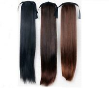 Human Hair Ponytail Blended Human Hair - Silky Straight - 22''-  Black, Brown