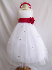 Beautiful white/red rosebud mid calf wedding pageant party flower girl dress