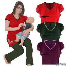 LADIES NURSING SHORT SLEEVED V NECK ZIP BREASTFEEDING WOMENS PJYAMA SET 8-18
