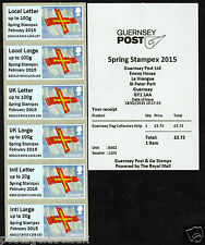 GUERNSEY FLAG WITH/WITHOUT O/P Spring Stampex 2015 Post and Go JOINT Issue GB