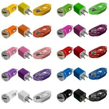 Wall AC Travel Charger + Car Charger + USB Data Cable Cord for Cell Phones