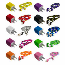 Braided Rope USB Sync Data Cable Cord 3FT+AC Power Wall Charger for iPhone 4 4S