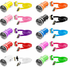 Noodle Flat 3FT USB Sync Data Cable Cord+2.1Amp Rapid Car Charger for iPhone