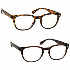 Reading Glasses 2 Pack Brown Tortoiseshell & Brown Mens Womens UVR2PK014_015