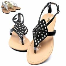 Womens Stud Studded Thongs Flat Sandals Buckle Slingback Strap Flip Flops Shoes