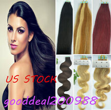 US STOCK Straight&Wavy Tape Hair REMY Human Hair Extensions More Color