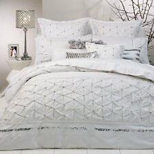 Ultima Logan & Mason SOLITAIRE WHITE Diamonte Doona Quilt Cover Set Queen King