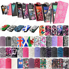 New Printed PU Leather Luxury Pouch For HTC Cell Phones Flip Case Cover + Stylus