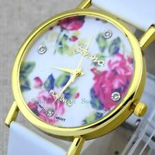 Fashion ROSE Flower Gold Dial  Leather Band Women Girl Dress Quartz Wrist Watch