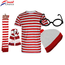 WOMENS GIRLS RED AND WHITE STRIPED T SHIRT TOP HAT GLASSES SOCKS FANCY DRESS