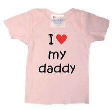 PERSONALISED I LOVE DADDY DAD POPS FATHER BABY T SHIRT BIRTHDAY CHRISTMAS GIFT
