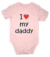 PERSONALISED I LOVE DADDY DAD POPS FATHER BABY CREEPER BIRTHDAY CHRISTMAS GIFT