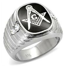 Men's New 316L Stainless Steel Compass Ruler Masonic Crystal Ring Sizes 7-13