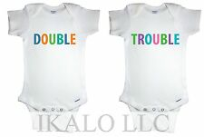 DOUBLE TROUBLE CUTE FUNNY CUSTOM PRINTED TWIN BABY BOY AND GIRL GERBER® ONESIE®
