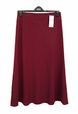 M&S Claret Red A Line Bias Cut Fully Lined  Elasticated Waist Skirt