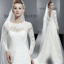 Western backless Bride Gown/  Lace Long sleeve Wedding Dress with trail White