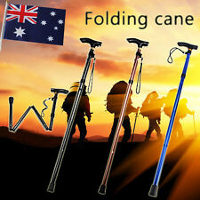 Hike Adjustable Folding Cane Metal WALKING STICK Travel Pole Compact Retractable
