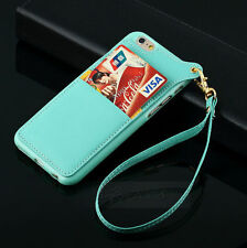 Lanyard Wrist Band Card Slot PU Leather TPU Back Cover Case for iPhone 6 /6 Pius
