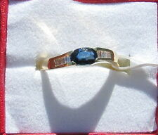 18kt Yellow Gold VS Blue Sapphire and Diamond Ladies Ring