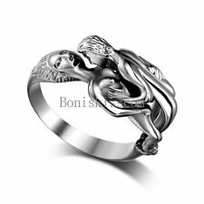 Polished Silver Stainless Steel Casting Hug Kissing Couple Lovers Ring Size 6-12