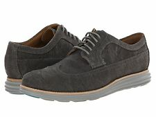 Men's Shoes Cole Haan LunarGrand Long Wing Oxfords C13971 Pewter Canvas *New*