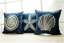 "18"" Blue Ocean Embroidered Chenille Throw Pillow Case Cushion Cover Pillow Sham"