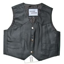 KIDS COWHIDE GENUINE LEATHER RIDING BIKER VEST FOR BOYS & GIRLS - V7Q