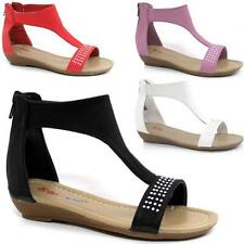 Girls Summer Sandals New Low Wedge Fancy Bridesmaid Dress Party Beach Shoes Size