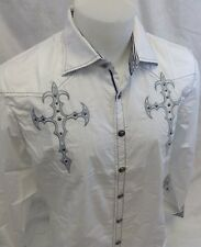 Mens House of Lords Button Down Dress Shirt Cross Stones White Roar With Class