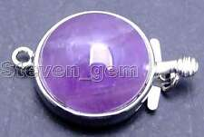 SALE Big 18mm Round Natural Purple Amethyst 1 strands Clasp-gp187