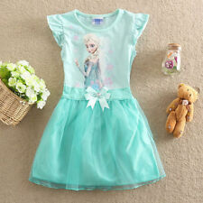 Girl Kids  Frozen Princess Queen Elsa Party Cosplay Costume Fancy Dress Long