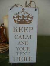 Personalised Your Own Text Sign Keep Calm Shabby Wooden Family Plaque Home Gift