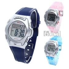 Digital LED Children Boy Girl Sports Wrist Watch Alarm Fashion Rubber Band