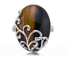 Womens Tiger's Eye Solid 925 Sterling Silver Filigree Ring Fashion Jewelry Gift