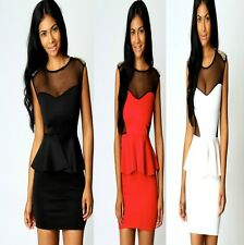 Sexy w Studs Peplum Cocktail Dance Party Formal Office Fashion Chic Dress Ladies