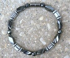 Mens Womens Powerful 100% Magnetic Bracelet Anklet Black Twist Silver Drum 1 Row