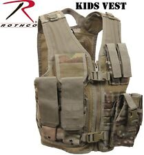Multicam Camo Kids Cross Draw Tactical Vest Military MOLLE Tactical Vest 5384