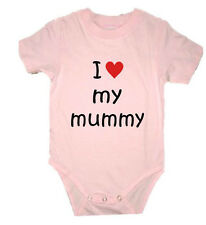 PERSONALISED I LOVE MY MUMMY MUM MOM DAD DADDY BABY GROW VEST CREEPER BIRTHDAY