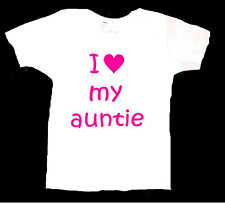 PERSONALISED I LOVE MY AUNTIE AUNT AUNTY UNCLE BABY T SHIRT BIRTHDAY GIFT