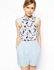Sexy Flower Print Lapel Sleeveless Spliced Shorts Pants Rompers Jumpsuit Overall