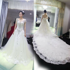 Cheap Top Made Luxurious Wedding Dress Layers V-neck Crystal Wedding Dress 2015