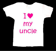 PERSONALISED I LOVE MY UNCLE BABY TODDLER T SHIRT BIRTHDAY NEWBORN GIFT PRESENT