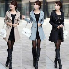 Fashion Women's Lace Hooded Slim Fit Double Breasted Coat Outwear Long Jacket #